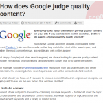 How does Google judge quality content